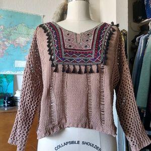 Loose Knit Crop Top by Miss Pop